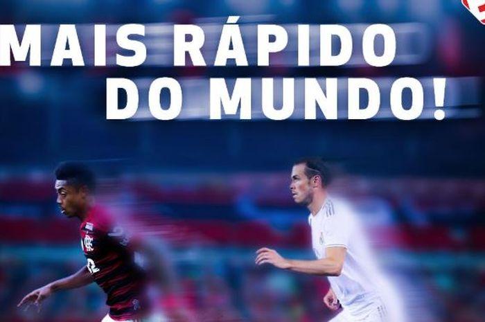 Striker Flamengo, Bruno Henrique, melampaui kecepatan lari bintang Real Madrid, Gareth Bale.