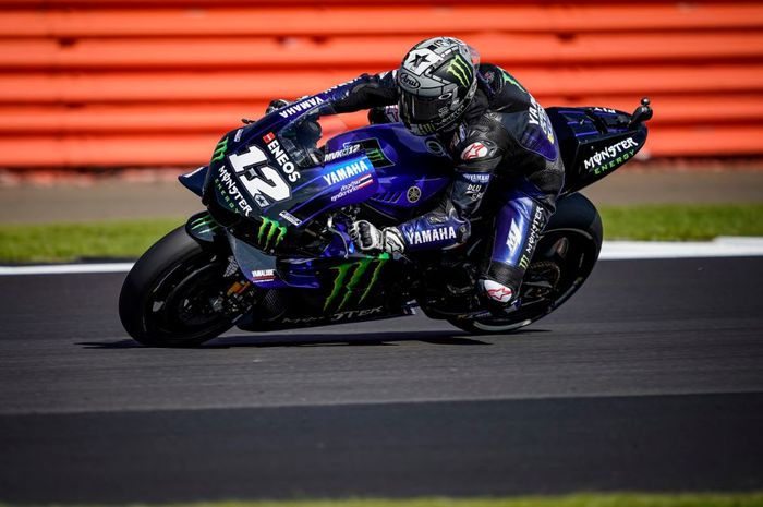 Aksi Pembalap Monster Energy Yamaha, Maverick Vinales pada kualifikasi MotoGP Inggris 2019, Sabtu (24/8/2019)