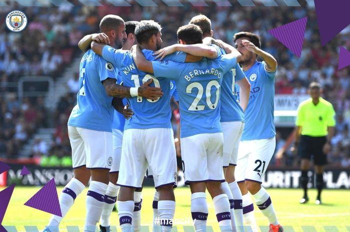 Para pemain Manchester City saat menjamu Bournemouth, Minggu (25/8/2019)