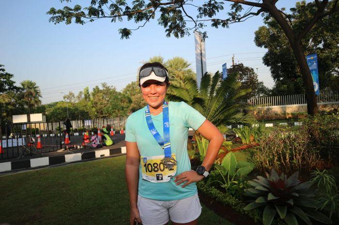 Jessica Shohan, pelari kategori relay marathon di Tiket.com Kudus Relay Marathon 2019, Minggu (25/8/2019).