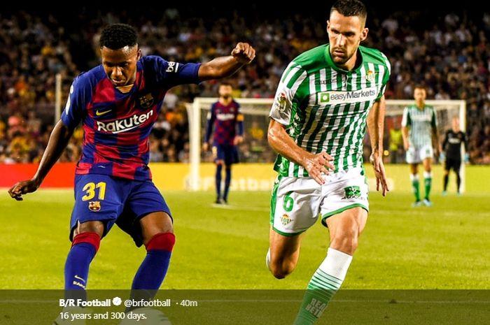 Anssumane Fati menjadi pemain termuda yang diturunkan Barcelona ketika melawan Real Betis pada pertandingan pekan kedua Liga Spanyol, Minggu (25/8/2019).
