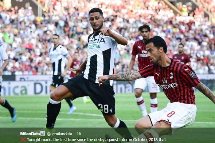 Pemain AC Milan, Suso, mencoba melakukan tembakan ke gawang Udinese saat AC Milan melakoni laga tandang pada pekan pertama Liga Italia 2019-2020, Minggu (25/8/2019).