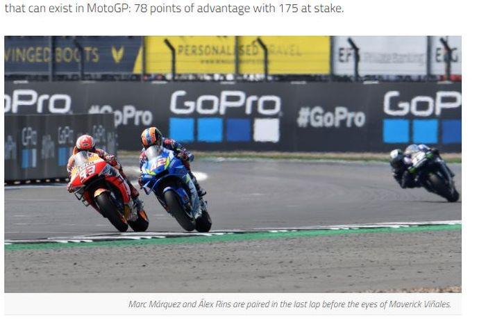 Alex Rins (Suzuki) dan Marc Marquez (Repsol Honda) berduel pada lap terakhir MotoGP Inggris 2019, Minggu (25/8/2019).