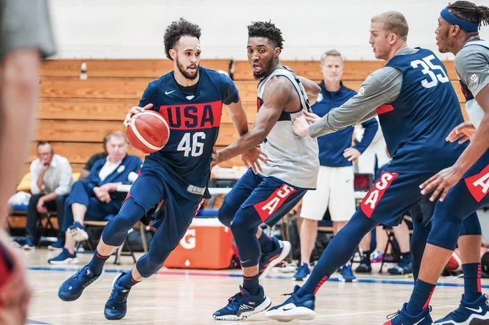 Suasana latihan Timnas Basket AS.