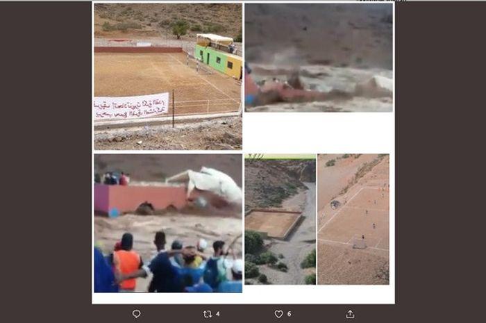 Detik-detik banjir bandang menyapu lapangan sepak bola di Maroko dan menewaskan 7 orang penonton.