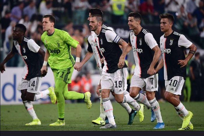 Pemain Juventus merayakan kemenangan atas Napoli, 31 Agustus 2019.