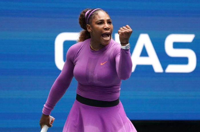 Ekspresi Serena Williams usai mengamankan satu tiket perempat final US Open 2019, Senin (2/9/2019)