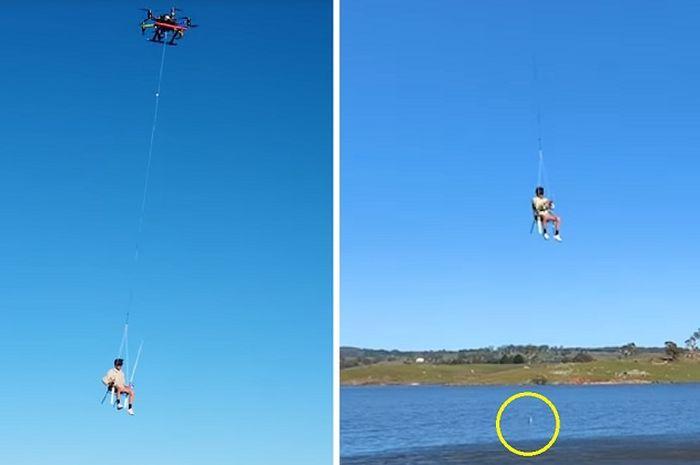 Naik Drone, Video Pria Australia Lagi Mancing Ikan di Waduk Viral