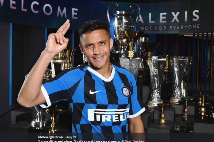 Striker anyar Inter Milan, Alexis Sanchez, yang dipinjam dari Manchester United.
