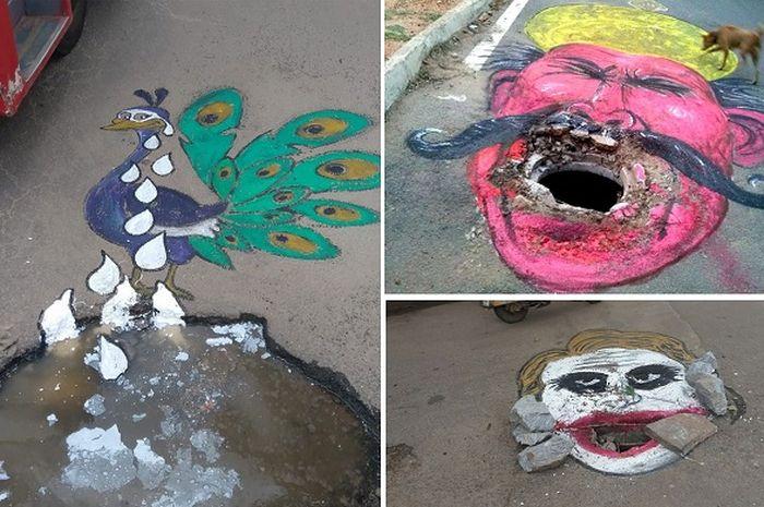 Biar Segera Diperbaiki, Pelukis Ini Sengaja Jadikan Jalan Berlubang sebagai Kanvas
