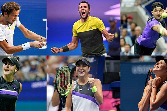 Daniil Medvedev, Matteo Berrettini, Grigor Dimitrov, Elina Svitolina, Belinda Bencic, dan Bianca Andreescu (searah jarum jam dari pojok kiri atas) menjadi semifinalis US Open 2019 yang belum pernah mencicipi juara grand slam