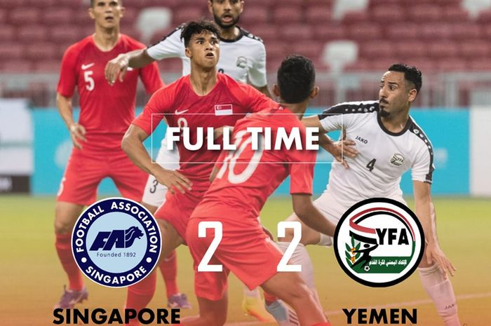 Timnas Singapura (merah) kontra timnas Yaman pada laga Kualifikasi Piala Dunia 2022 di Stadion Nasional Singapura, 5 September 2019.