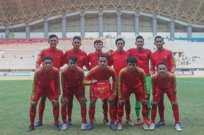 Skuat Timnas U-19 Indonesia saat menghadapi Timnas U-19 Iran di Stadion Patriot Chandrabhaga, Bekasi, Sabtu (17/9/2019) sore WIB.