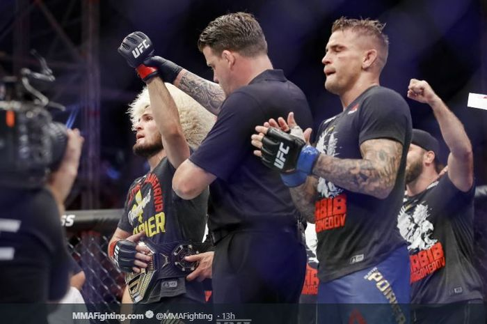 Dua petarung UFC, Khabib Nurmagomedov dan Dustin Poirier.