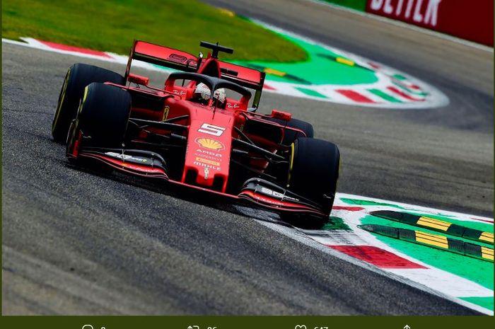Pembalap Ferrari, Sebastian Vettel, kala tampil dalam sesi latihan F1 GP Italia 2019 di Sirkuit Monza Sabtu (7/9/2019)