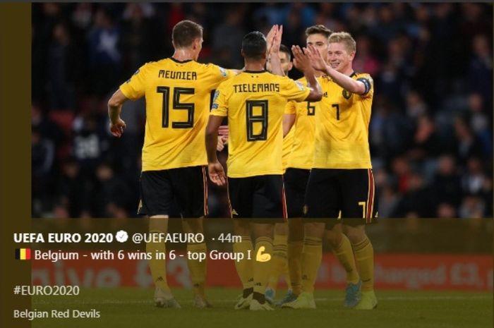 Timnas Belgia merayakan kemenangan atas Skotlandia dalam lanjutan Kualifikasi Piala Eropa 2020, Senin (9/9/2019).