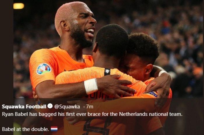Striker timnas Belanda, Ryan Babel, merayakan gol ke gawnag Estonia dalam Kualifikasi Piala Eropa 2020, Senin (9/9/2019).