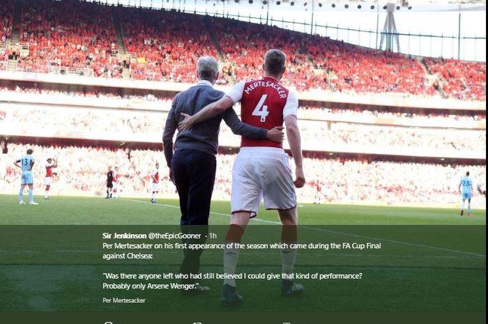Mantan pemain Arsenal, Per Mertesacker dan mantan pelatih Arsenal, Arsene Wenger