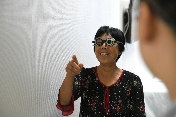 Huang Yuanzhen menjalani pemeriksaan penglihatan di rumah Rumah Sakit Wuhan Union, Wuhan, Hubei, pada 3 September 2019.