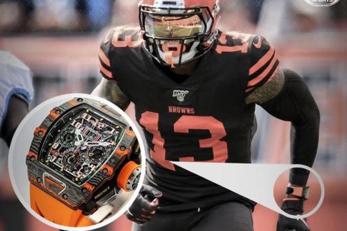 Pemain Cleveland Brown, Odell Beckham Jr, bermain di NFL dengan jam Richard Mille seharga 5 miliar rupiah.
