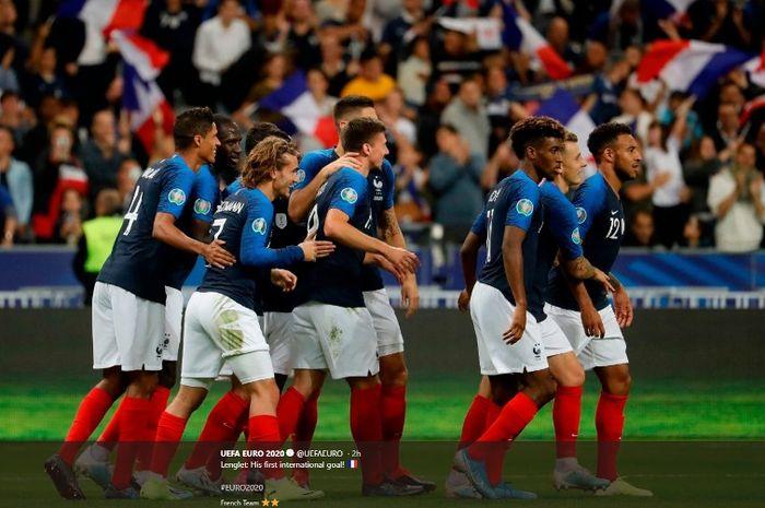 Timnas Prancis merayakan kemenangan atas Andorra dalam lanjutan Kualifikasi Piala Eropa 2020, Selasa (10/9/2019).