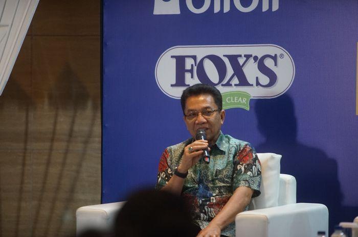 Sekjen PP PBSI Achmad Budiharto berbicara dalam konferensi pers jelang Indonesia Masters 2019 Super 100 di Ritz Carlton, Jakarta, Rabu (11/9/2019).