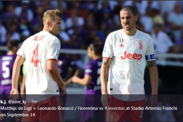 Bek Juventus, Matthijs de Ligt, dalam laga kontra Fiorentina di Artemio Franchi, Sabtu (14/9/2019).