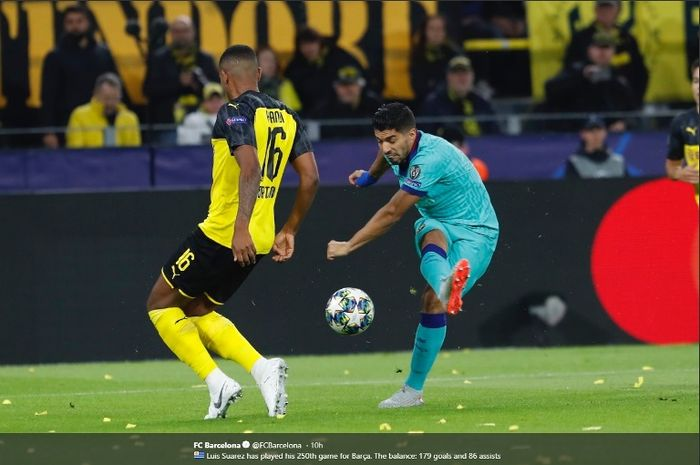 Striker Barcelona, Luis Suarez, dalam laga kontra Borussia Dortmund di Signal Iduna PArk, Selasa (17/9/2019).
