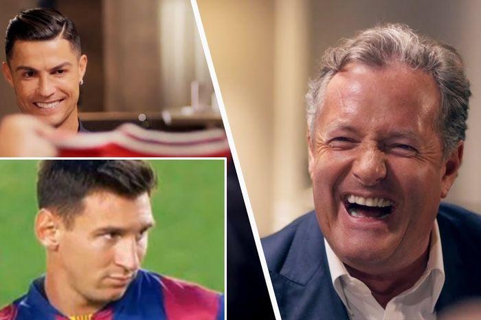 Jurnalis Inggris, Piers Morgan (kanan), mewawancari Cristiano Ronaldo dan sempat menilai Lionel Messi pesepak bola terbaik di dunia.