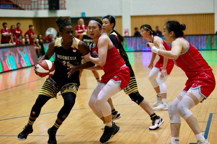 Kimberley Pierre-Louis, kandidat pebasket Indonesia hasil naturalisasi, turun pada try out di Korea Selatan, Agustus 2019.