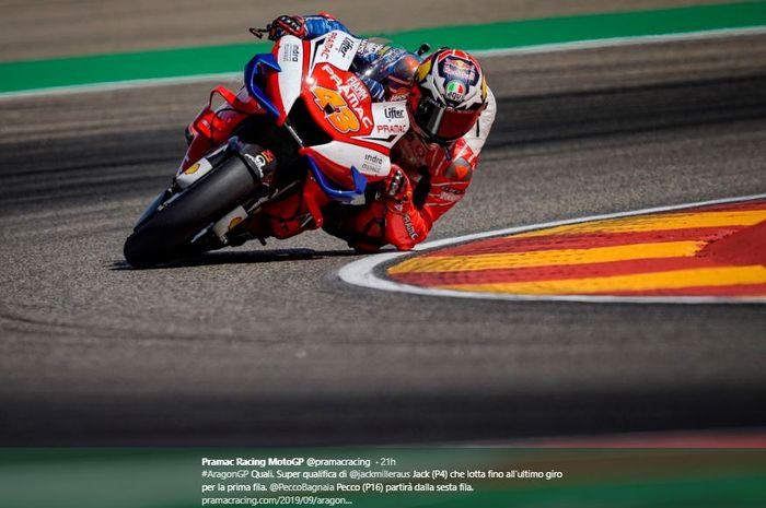 Aksi Pembalap Pramac Racing, Jack Miller pada sesi latihan MotoGP Aragon 2019, Sabtu (21/9/2019)