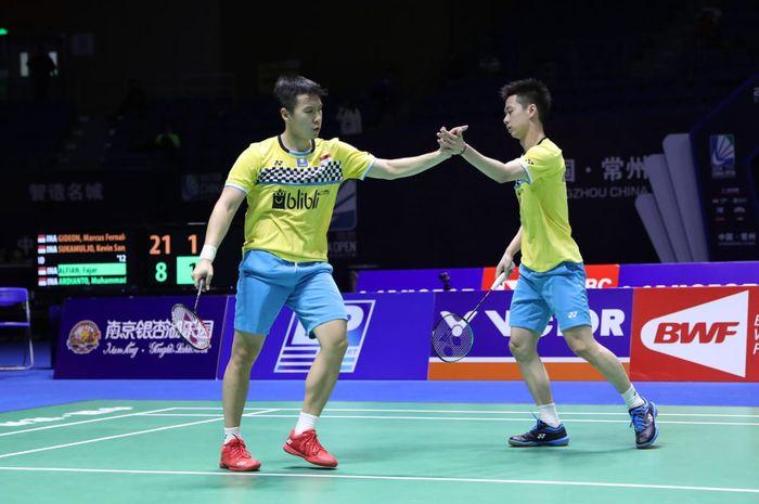 Pemain gana putra Indonesia, Marcus Fernaldi Gideon/Kevi Sanjaya Sukamuljo ketika bermain pada laga semifinal China Open 2019 Sabtu (21/9/2019)