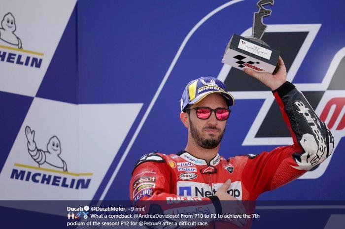 Pembalap Ducati, Andrea Dovizioso, finis di posisi kedua dalam balapan MotoGP Aragon 2019 yang berlangsung di Sirkuit Aragon, Spanyol, 22 September 2019.