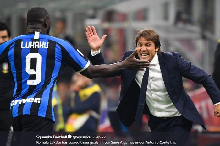 Ekspresi Antonio Conte ketika Romelu Lukaku sukses mencetak gol penutup dalam kemenangan 2-0 Inter Milan atas AC Milan di San Siro, akhir pekan lalu.