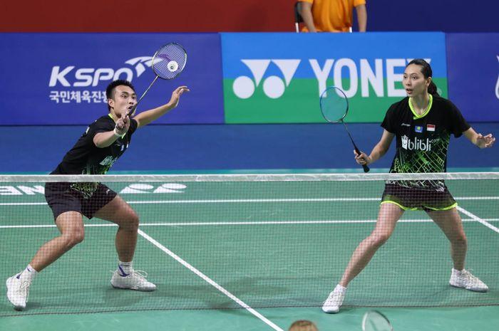 Ganda campuran Indonesia, Hafiz Faizal/Gloria Emanuelle Widjaja ketika berlaga pada babak kesatu hari kedua Korea Open 2019 Rabu (25/9/2019)