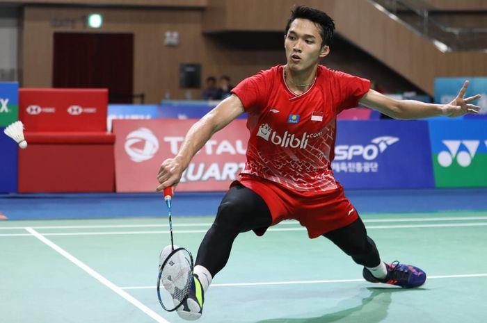 Pebulu tangkis tunggal putra Indonesia, Jonatan Christie, tampil pada babak perempat final Korea Open 2019, Jumat (27/9/2019).