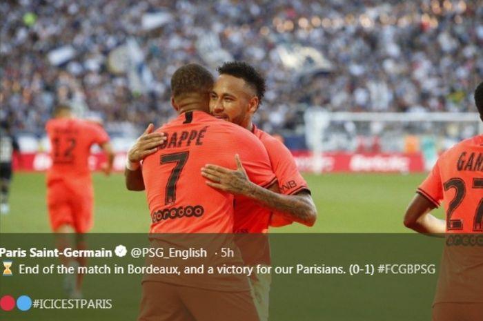 Neymar dan Kylian Mbappe merayakan kemenangan PSG atas Bordeaux pada Sabtu (28/9/2019).