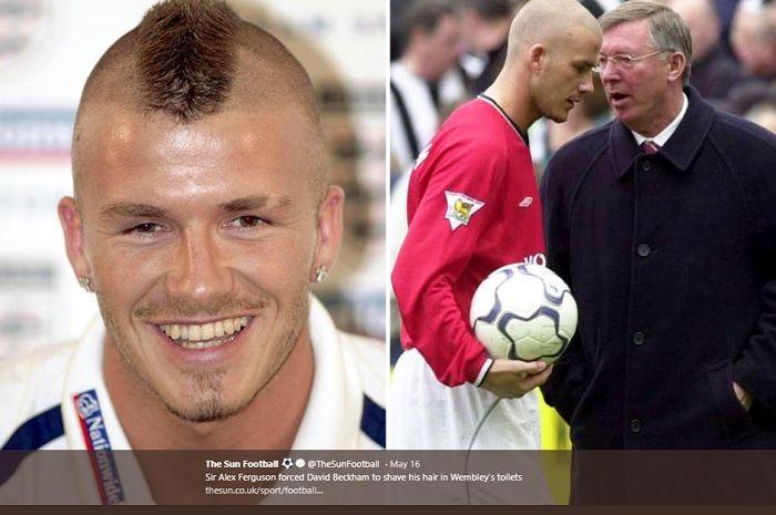 David Beckham terpaksa harus mencukur rambut mohawknya di Stadion Wembley karena disuruh Sir Alex Ferguson.