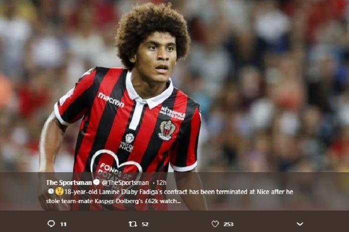 Lamine Diaby-Fadiga, pemain muda Nice yang mencuri arloji mewah rekan retimnya.