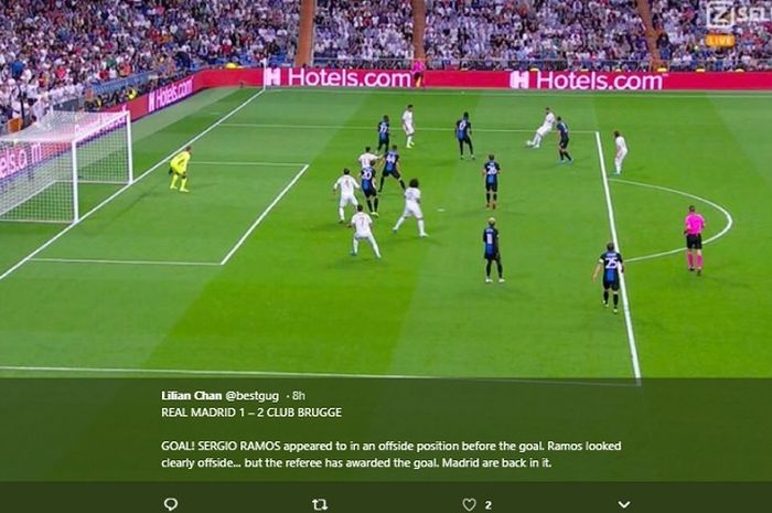Posisi Sergio Ramos sebelum mencetak gol ke gawang Club Brugge di matchday kedua Liga Champions 2019, Selasa (1/10/2019).