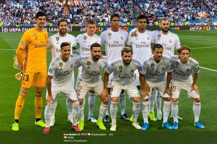 Real Madrid sebelum bertanding melawan Club Brugge di Estadio Santiago Bernabeu, Selasa (1/10/2019).