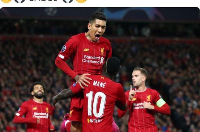 Penyerang Liverpool, Sadio Mane, merayakan golnya bersama Roberto Firmino dalam laga Grup E Liga Champions melawan Salzburg di Stadion Anfield, Rabu (2/10/2019).