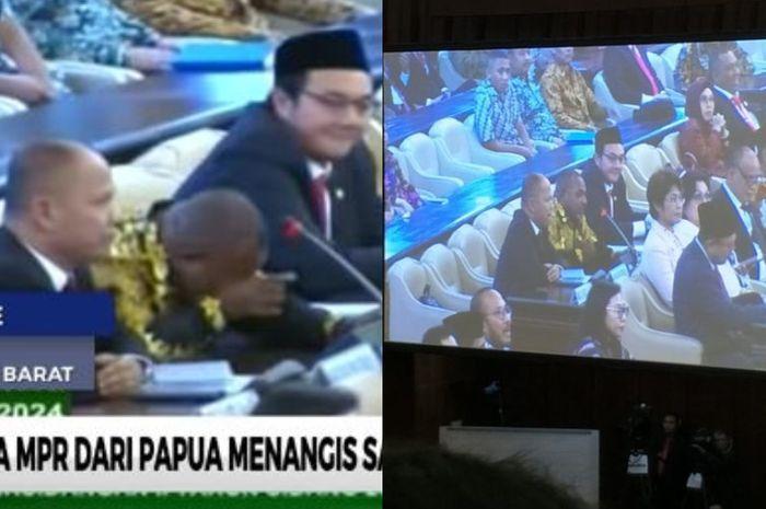 Anggota DPR dari Papua menangis sesenggukan saat rapat paripurna