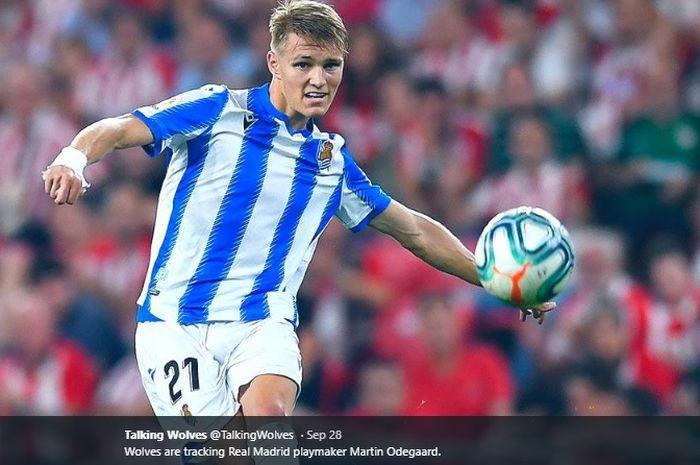 Gelandang serang milik Real Madrid yang kini dipinjamkan ke Real Sociedad, Martin Odegaard.