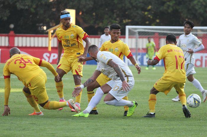 Laga Bhayangkara FC Vs PSS Sleman pada lanjutan Liga 1 2019 di Stadion PTIK, Jakarta, Jumat (4/10/2019).