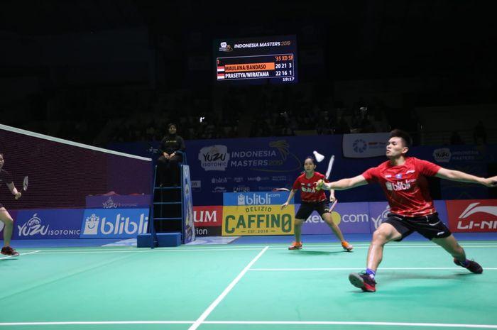 Aksi pasangan ganda campuran Indonesia  Adnan Maulana/Mychelle Crhystine Bandaso pada semifinal Indonesia Masters 2019, Sabtu (5/10/2019)