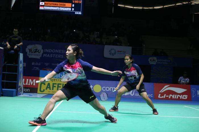 Pasangan ganda putri Indonesia, Siti Fadia Silva Ramadhanti/Ribka Sugiarto, pda babak semifinal Indonesia Masters 2019 Super 100 di GOR Ken Arok, Malang, Sabtu (5/10/2019).