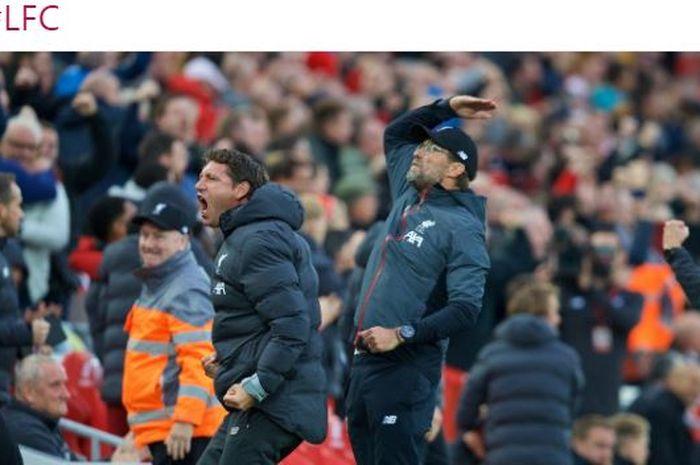 Ekspresi pelatih Liverpool, Juergen Klopp (kanan), dalam laga Liga Inggris melawan Leicester City di Stadion Anfield, Sabtu (5/10/2019).