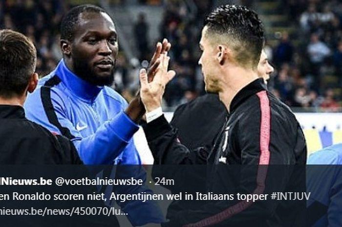 Romelu Lukaku dan Cristiano Ronaldo dalam laga Inter Milan versus Juventus di Giuseppe Meazza, Minggu (6/10/2019).