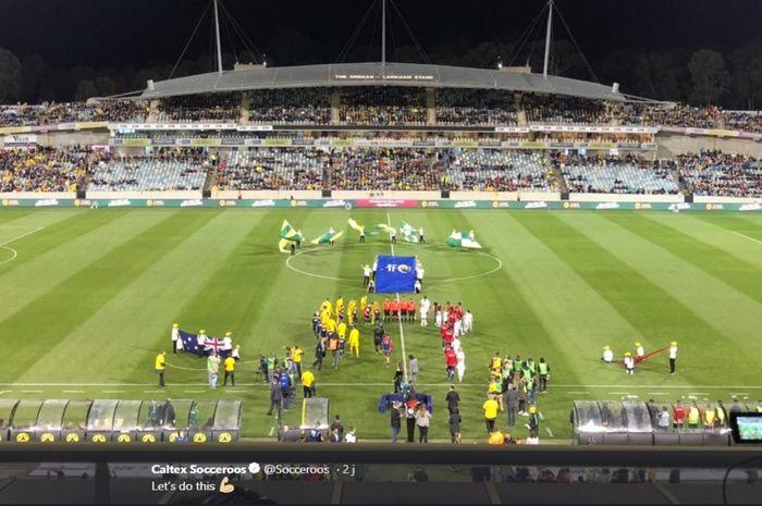 Jelang laga antara timnas Australia kontra timnas Nepal pada lanjutan Grup B putaran kedua Kualifikasi Piala Dunia 2022 zona Asia di Stadion GIO, Canberra, 10 Oktober 2019.